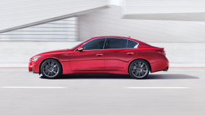 The Side Profile of the 2018 INFINITI Q50 Red Sport Sedan in Dynamic Sunstone Red